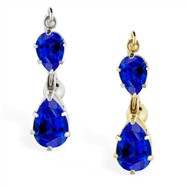 14K Gold reversed belly ring with double Sapphire teardrop dangle