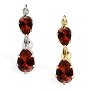 14K Gold reversed belly ring with double Garnet teardrop dangle