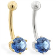 14K yellow gold belly button ring with 6-prong Blue Zircon