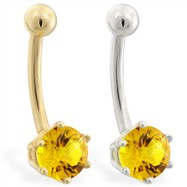14K yellow gold belly button ring with 6-prong Citrine