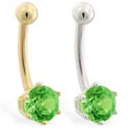 14K yellow gold belly button ring with 6-prong Peridot