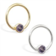 14K Gold captive bead ring with Alexandrite