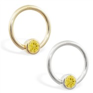 14K Gold Captive Bead Ring with Citrine