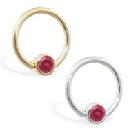 14K Gold captive bead ring with Ruby