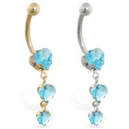 14K Gold belly ring with triple heart Aquamarine dangle