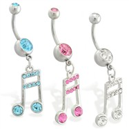 Navel ring with dangling jeweled music note