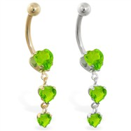 14K Gold belly ring with triple heart Peridot dangle
