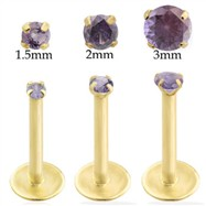14K Gold internally threaded labret with Alexandrite