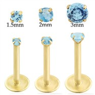 14K Gold internally threaded labret with Aquamarine