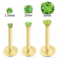 14K Gold internally threaded labret with Peridot