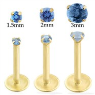 14K Gold internally threaded labret with Blue Zircon