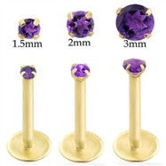 14K Gold internally threaded labret with amethyst