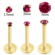 14K Gold internally threaded labret with Ruby