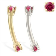 14K Gold internally threaded curved barbell with Ruby gems