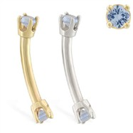 14K Gold internally threaded curved barbell with aquamarine gems