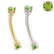 14K Gold internally threaded curved barbell with peridot gems
