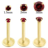 14K Gold internally threaded labret with garnet