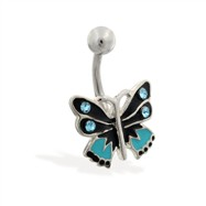 Blue and black butterfly belly ring
