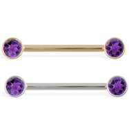 14K Gold Nipple Ring with Bezel Setting Amethyst Gems, 14 Ga