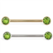 14K Gold Nipple Ring with Bezel Setting Peridot Gems, 14 Ga