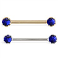 14K Gold Nipple Ring with Bezel Setting Sapphire Gems, 14 Ga