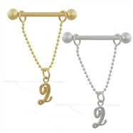 14K Yellow Gold nipple ring with dangling cursive initial Q, 14 ga
