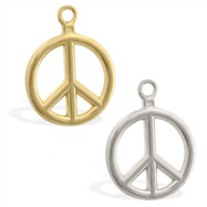 14K Gold peace pendant