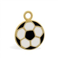 14K Yellow Gold Enameled Soccer Ball Pendant