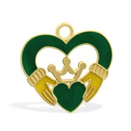14K Yellow Gold Enameled Claddagh Heart Charm