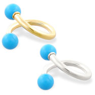 14K Gold twister barbell with Turquoiseballs, 16ga