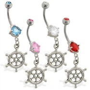 Double jewelry belly ring with dangling ship's wheel