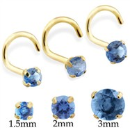 14K Gold Nose Screw with Round Blue Zircon