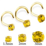 14K Gold Nose Screw with Round Citrine