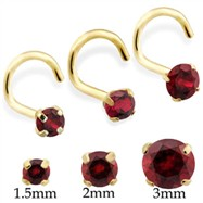 14K Gold Nose Screw with Round Garnet
