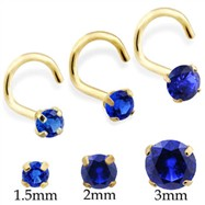 14K Gold Nose Screw With Round Sapphire