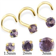 14K Gold Nose Screw With Round Alexandrite