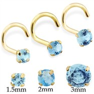14K Gold Nose Screw with Round Aquamarine