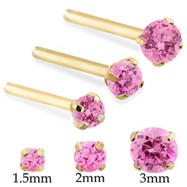 14K Gold Long Customizable Nose Stud with Round Pink Tourmaline