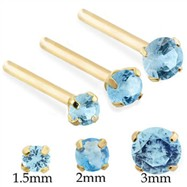14K Gold Long Customizable nose stud with Round Aquamarine