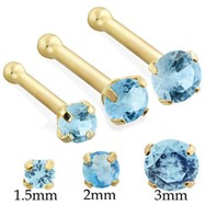 14K Gold Nose Bone with Round Aquamarine