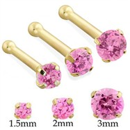14K Gold nose bone with Round Pink Tourmaline
