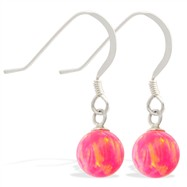 Sterling Silver Earrings with Dangling 8mm Pink Opal Ball