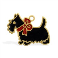 14K Yellow Gold Enameled Dog Charm