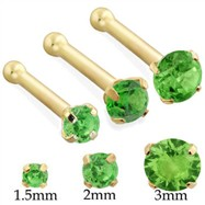 14K Gold Nose Bone with Round Peridot