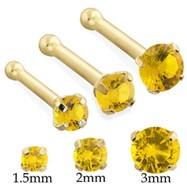 14K Gold Nose Bone Nose Screw with Round Citrine