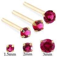 14K Gold Long Customizable Nose Stud with Round Ruby