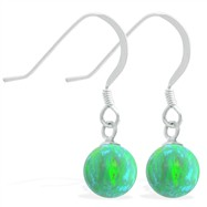 Sterling Silver Earrings with Dangling 8mm Green Opal Ball