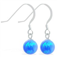 Sterling Silver Earrings with Dangling 8mm Blue Opal Ball
