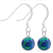 Sterling Silver Earrings with Dangling 8mm Blue Green Opal Ball