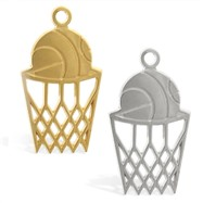 14K Gold basketball and net pendant